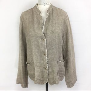 Eileen Fisher Oranganic Linen Tan Button Blazer